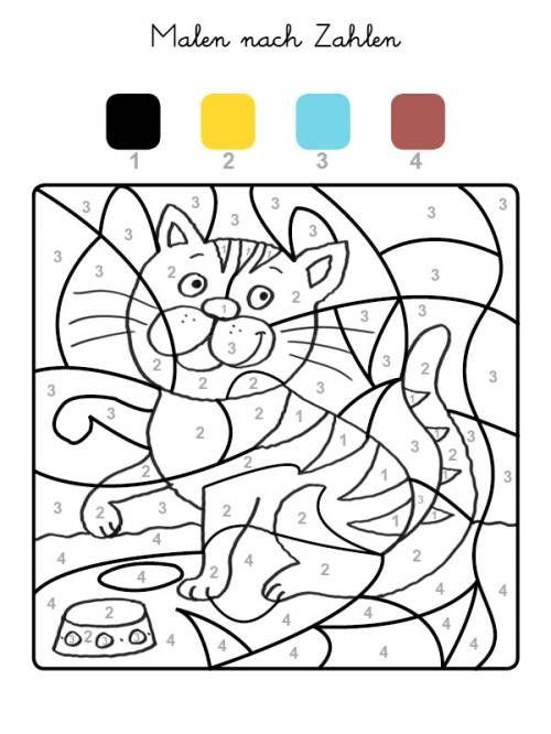 Katze mit Jungen Malen nach Zahlen