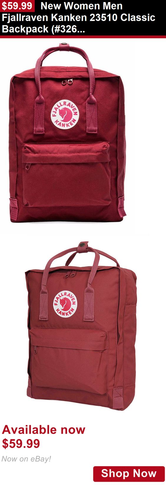 Unisex accessories: New Women Men Fjallraven Kanken 23510 Classic Backpack (#326 Ox Red) BUY IT NOW ONLY: $59.99