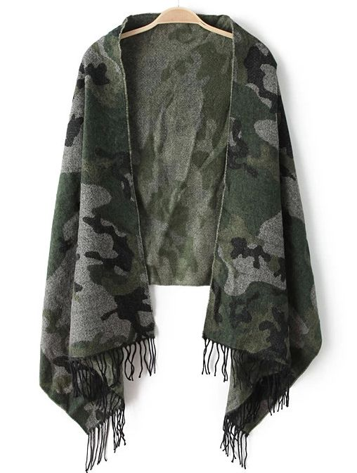 Army Green Camouflage Tassel Scarves 11.67
