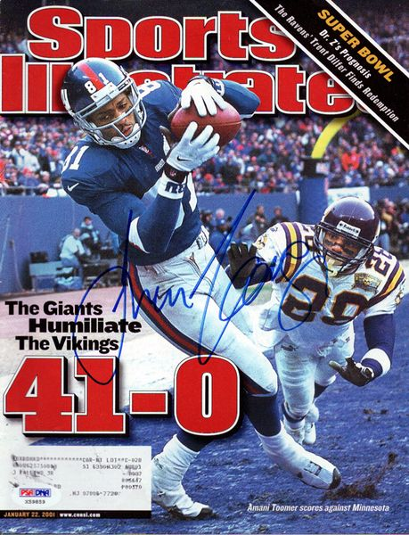 Amani Toomer Autographed Sports Illustrated Magazine New York Giants PSA/DNA.