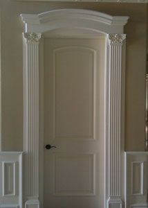 Adding crown molding over door frame trim pinterest for Over door decorative molding
