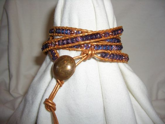 Purple and copper with copper leather 5 wrap bracelet