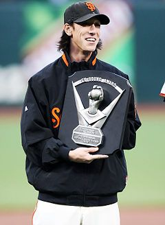 Husky Baseball Alum Tim Lincecum with his 2nd MLB Cy Young Award in 2009