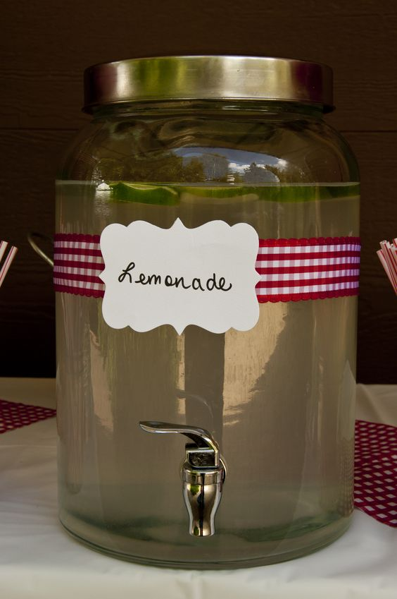 Red & White gingham ribbon & used my big shot to make the label - Lemonade - perfect for any outdoor party