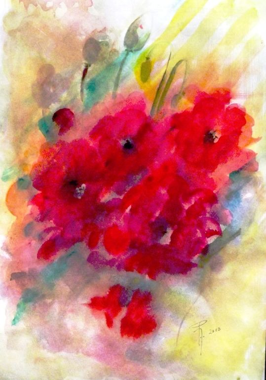 """Saatchi Online Artist: Hedwig Pen; Watercolor, 2011, Painting """"Red Giselle"""""""