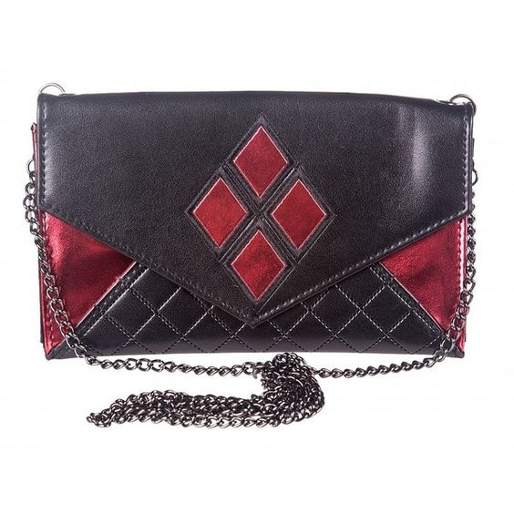Black And Red DC Comics Harley Quinn Clutch Bag With Chain ($24) ❤ liked on Polyvore featuring bags, handbags, clutches, chain purse, red and black handbag, red and black purses and chain handbags