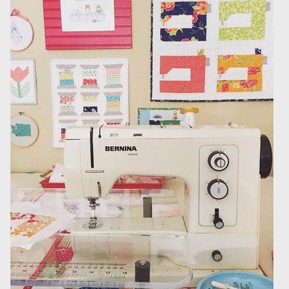 We love this little BERNINA in @cc.quilts bright and cheery sewing space. #bernina #sewing