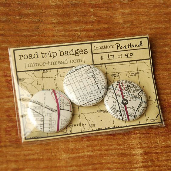 Road Trip Badges  Portland Ore No 17 by minorthread on Etsy, $4.00