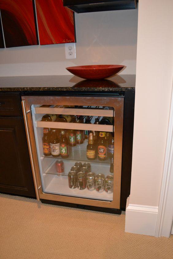 Wet bar refrigerator detail