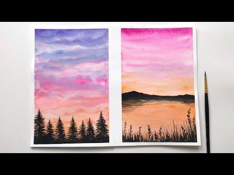 Watercolor Sunset Tutorial For Beginners Easy Watercolor Sunset