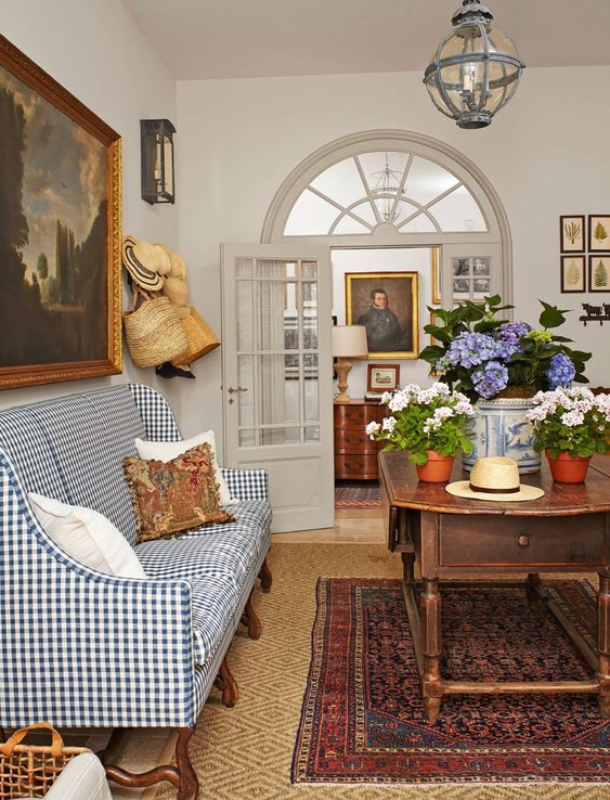 Antiques, antiques with contemporary fabrics, accents.