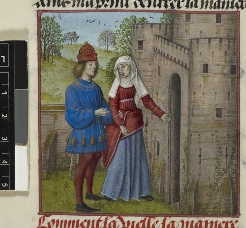 Detail of a miniature of the Lover and la Vieille (the Duenna).Guillaume de Lorris and Jean de Meun  Title Roman de la Rose   Origin Netherlands, S. (Bruges)  Date c. 1490-c. 1500  Language French  tucked skirt