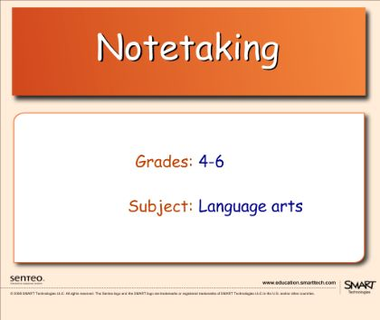 Notetaking Question Set - Use Response interactive response system to test the ability to take notes in outline form by determining the topic sentence and finding the supporting sentences from the key words.  Resource type: SMART Response question set  Subject: English Language Arts  Grade: Grade 4,  Grade 5,  Grade 6
