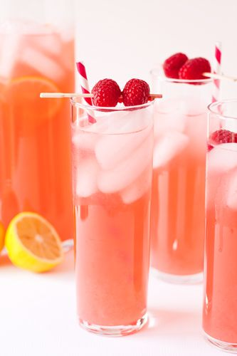 Great party idea: Make a batch of Raspberry Lemonade, set a chilled bottle of vodka nearby, and offer glasses + plastic cups to help differentiate the virgin drinks.