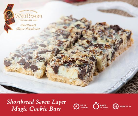 shortbread bar, filled with white and dark chocolate, pecans, coconut ...