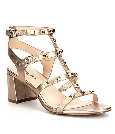 Karl Lagerfeld Paris Honore Studded Chunky Heel Sandals Dillards