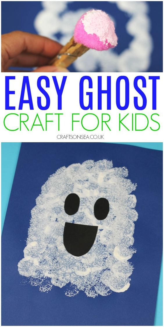ghost craft for kids easy halloween activity for toddlers and preschool #kidscrafts #halloweencrafts