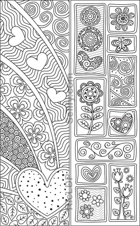 8 Valentines Coloring Bookmarks Coloring Bookmarks Detailed Coloring Pages Valentine Coloring