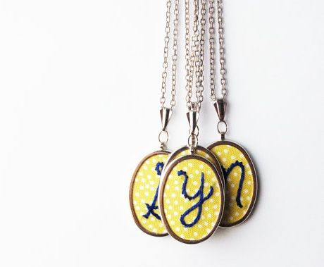 Customizable Initial Embroidered Necklace  BM