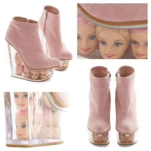 Jeffrey-Campbell-Pink-Suede-Barbie-Doll-Head-Icy-Wedge-Size-6-New-In-Box