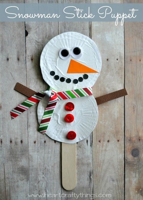 puppets for preschoolers snowman stick puppets winter craft pretend play and 825