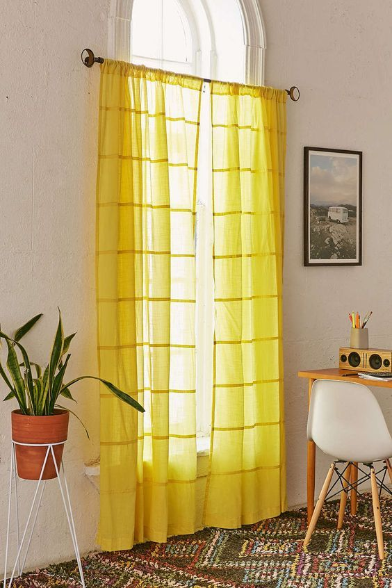 60 Spaces Where Yellow Colour Makes The Mark Yellow Curtains Yellow And Grey Curtains