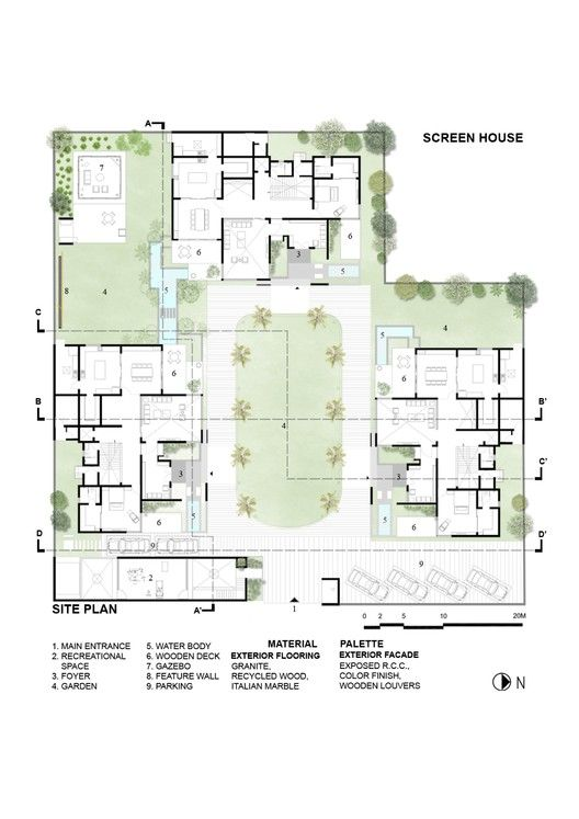 Gallery Of The Screen House The Grid Architects 37 Grid Architects Screen House Site Plan Design