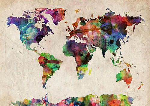 Watercolor rendition of a world map, and now a DIY idea! I think I'de add gold glitter to where there have been attacks with nuclear weapons or where there are nuclear facilities, just to keep it interesting