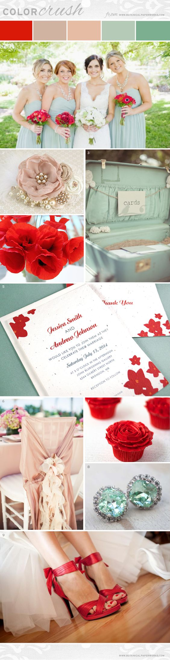 The soft and elegant pastels contrast beautifully with the vibrant and lively poppy red - perfect for all wedding styles.