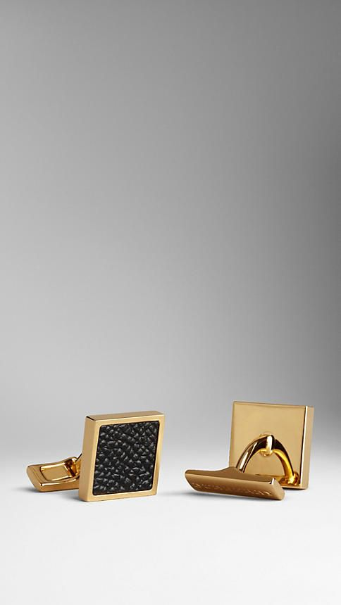 London Leather Cufflinks   Burberry