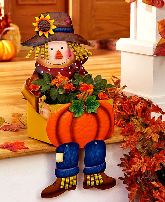 Scarecrow Planter Porch Sitter Fall Harvest Autumn Decor Outdoor Deck Patio NEW