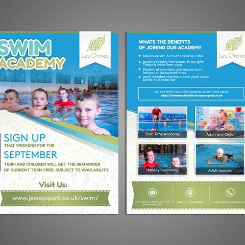 Family Resort Needs Double Sided A5 Leaflet For Kids Swim School Postcard Flyer Or Print Contest Design Postcard Flye Swim School Kids Swimming Family Resorts