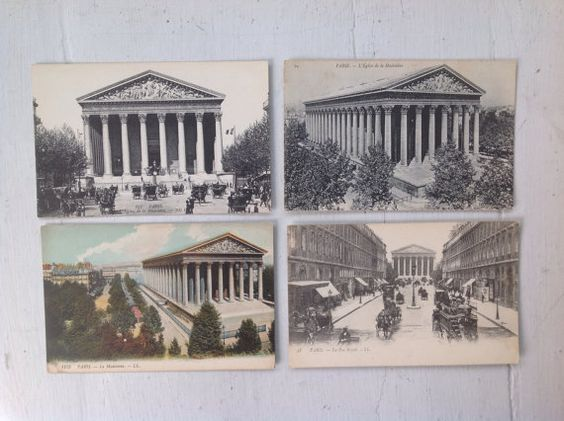 Set 4 l'Eglise de la Madeleine PARIS  cartes by MaxAndCoPost, $8.00