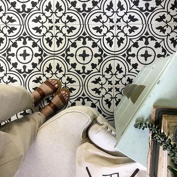 CottonStem.com black and white cement tile floor floors farmhouse she shed kitchen flooring