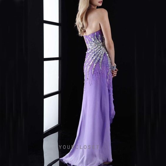 #purple #prom #dress Charming strapless beading chiffon evening dress #coniefox #2016prom