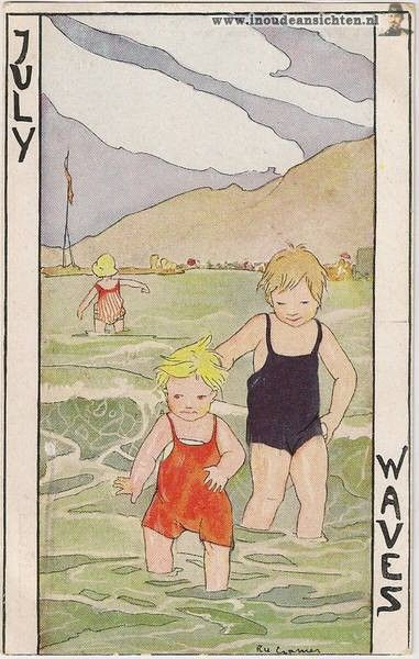 "Old Children's book illustration..Children at the Adelaide. Titled, ""July Waves""."