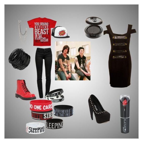"""""""BVB and SWS :3"""" by toffeebadger ❤ liked on Polyvore featuring мода, J Brand, Hell Bunny, T.U.K. и GUESS"""