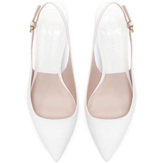 Zara Kitten Heel Synthetic Patent Leather Sling Back Shoes (510 ...