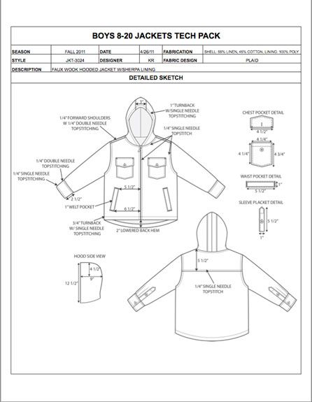 Childrens Design Detail Sheet Sample - Womens, Mens, Kids  Plus