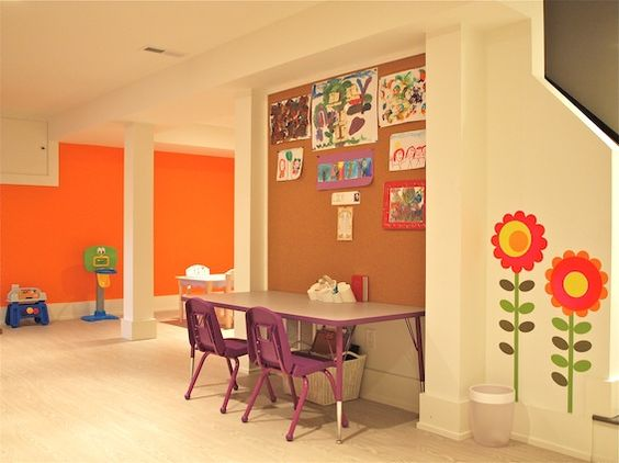 Outstanding Kids' Space by Jeffrey Phillip.  So colorful and clean it's hard to believe it's a basement. (I'm jealous of those kids!): Kid Playroom, Kid Spaces, Bulletin Board, Kids Playroom, Artwork Display, Playroom Artwork, Playroom Space