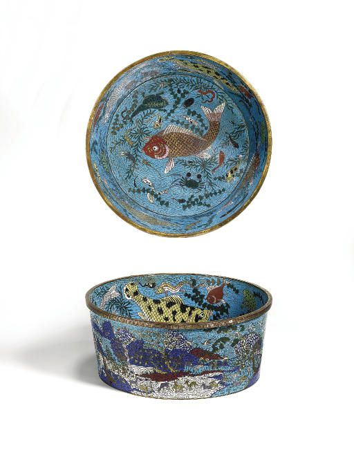 A rare and large gilt-bronze and cloisonné enamel fish basin, China, Qing dynasty, Qianlong period (1736-1795)