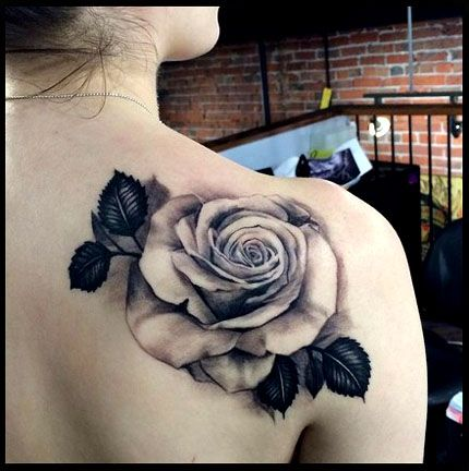 realistic rose tattoo black and grey | TATtOO | Pinterest ...