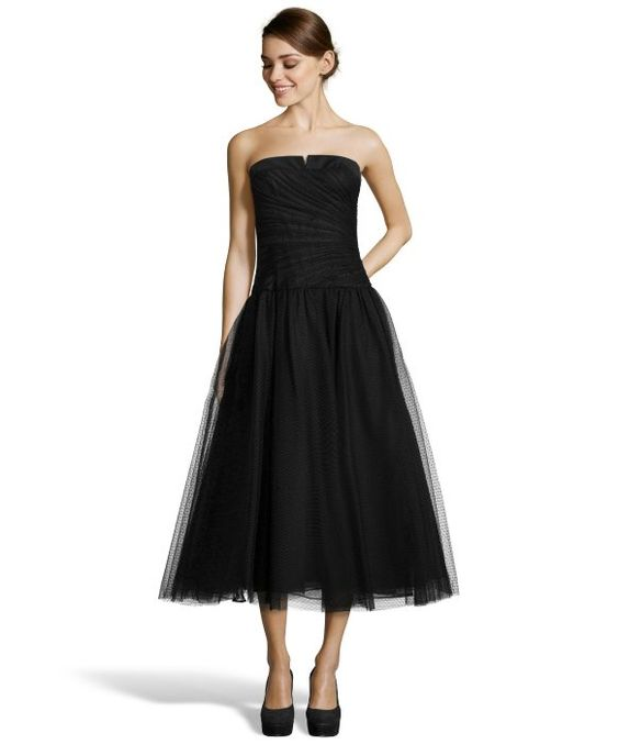 JILL Jill Stuart black dotted mesh strapless tea length dress. I ...