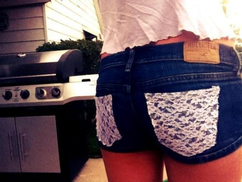 Lace pockets from Hollister, could be a great DIY project.