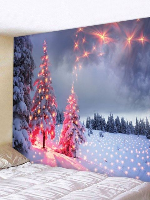 Christmas Snow Firework Pattern Tapestry Christmas Cubicle Decorations Affordable Christmas Decorations Dollar Tree Christmas Decor