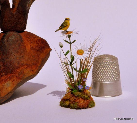 Wild Canary on Daisies by Beth Freeman-Kane