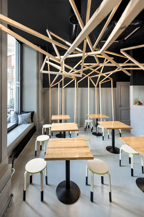 Thai noodle bar with a tree like wooden canopy by moko architects bar forests and kiosk - Bar canopy designs ...