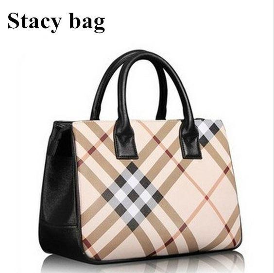stacy bag women leather handbag female plaid printing brief top-handles ladies totes briefcase business bag casual bag $10.00