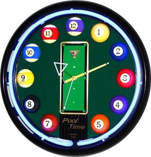 16 Billiards Blue Neon Wall Clock Game Bar Pool Table Man Cave