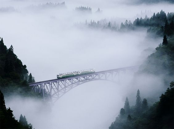 The bridge over Tadami river in Fukushima, Japan. Photo by Hideyuki Katagiri